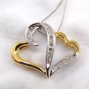 Diamonds, gold, & silver double heart necklace